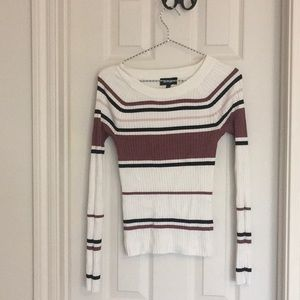 Express Striped Ribbed Bateau Neck Sweater S